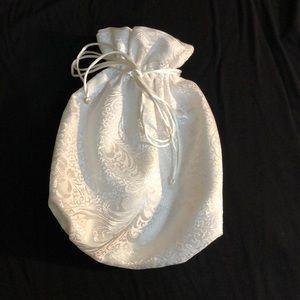 Handbags - White Bridal Drawstring Bag